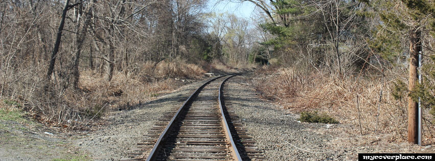 Railroad in the forest Facebook Cover