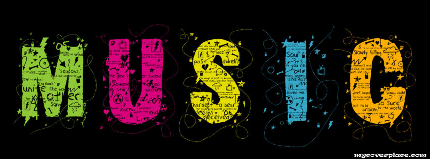 Colorful music graphic Facebook Cover