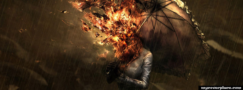 Fire girl with umbrella in the rain Facebook Cover