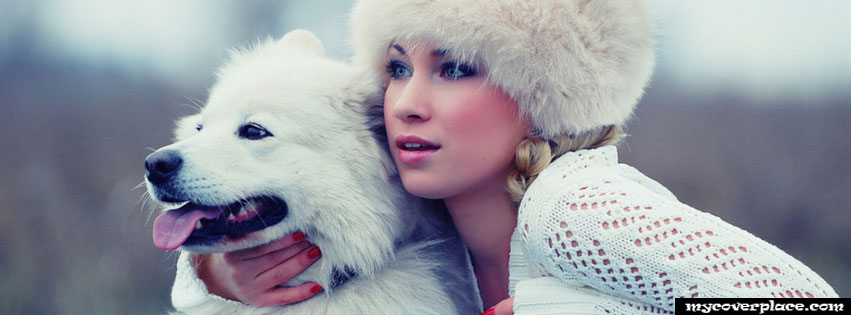 Beautiful girl in white and her white dog Facebook Cover