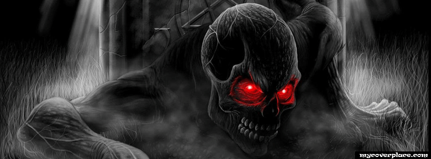 Art skull with red eyes Facebook Cover
