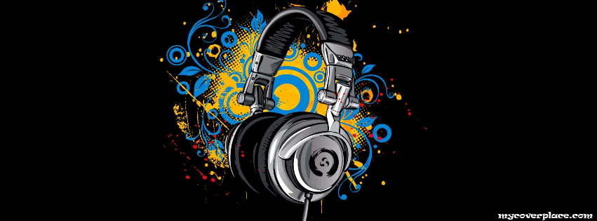 Art headphones Facebook Cover