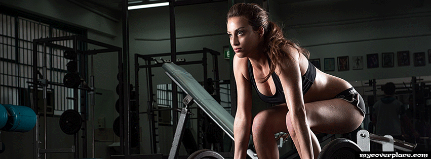 Fitness girl in the gym Facebook Cover