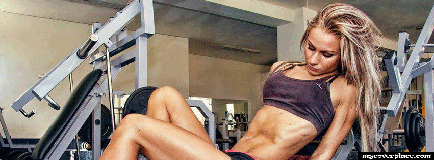 Blonde fitness girl in gym Facebook Cover