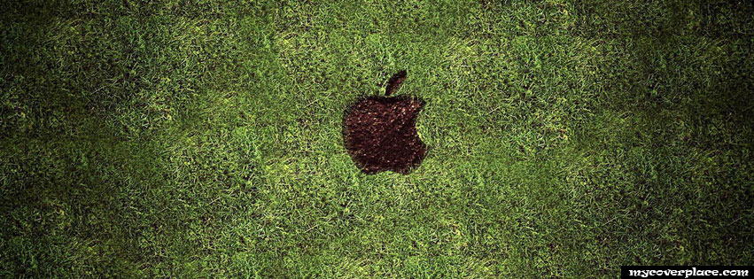 Apple Logo in the grass Facebook Cover
