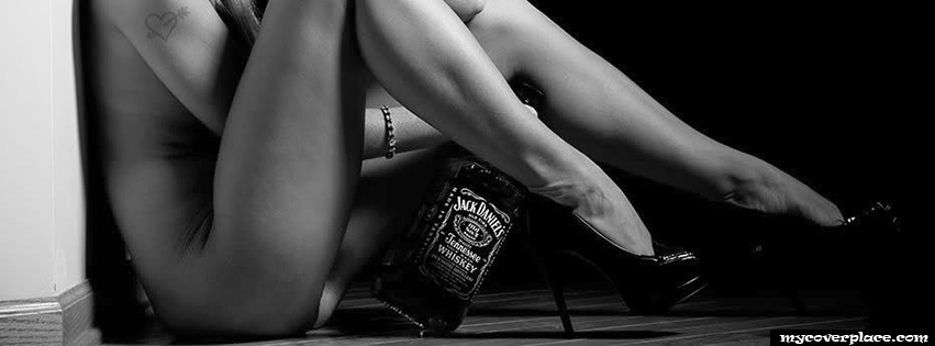 Girl without Clothes and Jack Daniels Whiskey Facebook Cover