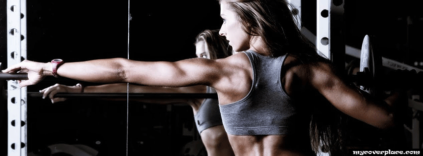 Fitness girl in Gym Facebook Cover