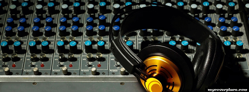 DJ Mixer and Headphones Facebook Cover